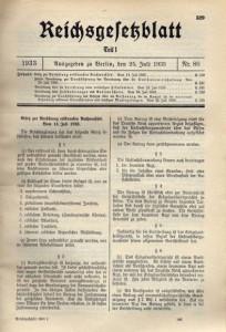 Reichsgesetzblatt 1933 Euthanasie